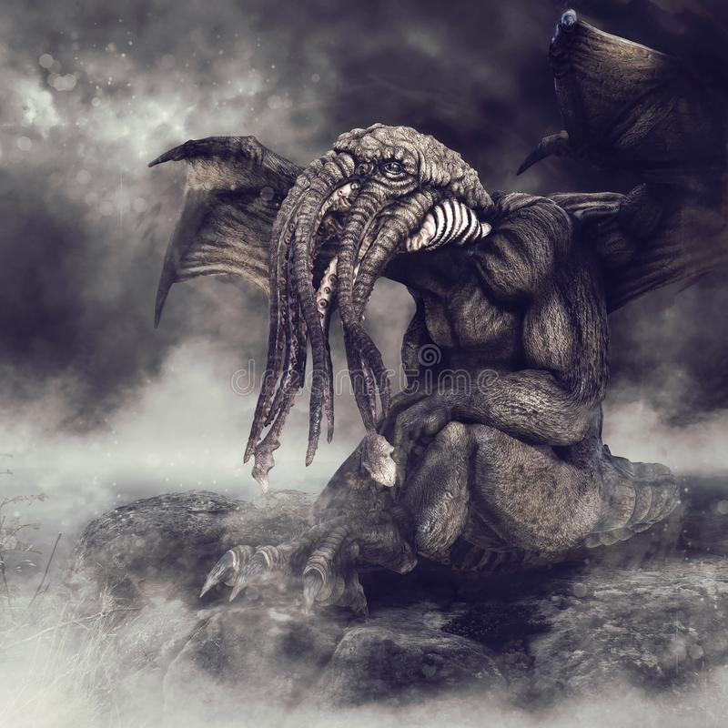 Cthulhu sitting on a rock. Foggy scenery with the winged monster Cthulhu sitting on a rock by the sea royalty free illustration