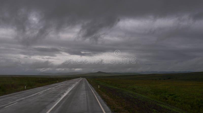 Foggy straight road in fields arkivbild