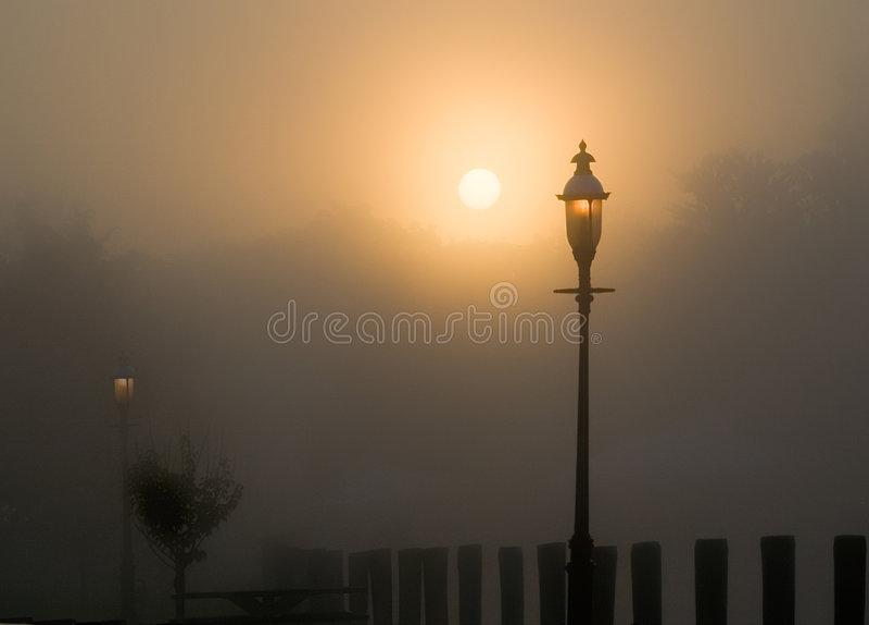 Foggy Sunrise stock image