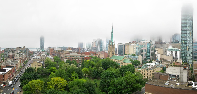 Foggy Toronto royalty free stock photos