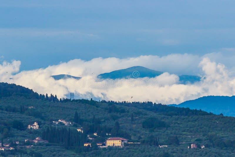 Foggy Toscany hills Italy royalty free stock image