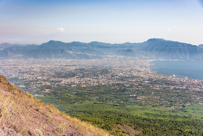 Foggy view of gulf of Naples. And towns south of Mount Vesuvius stock images