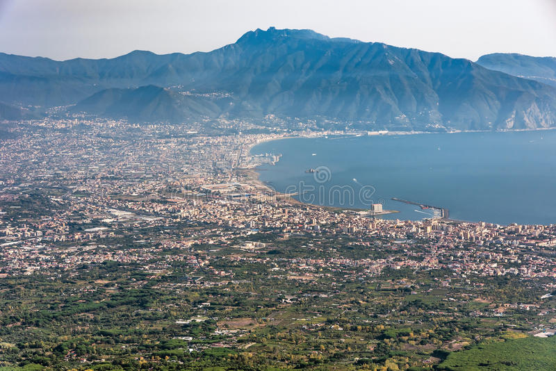 Foggy view of gulf of Naples. And towns south of Mount Vesuvius stock image