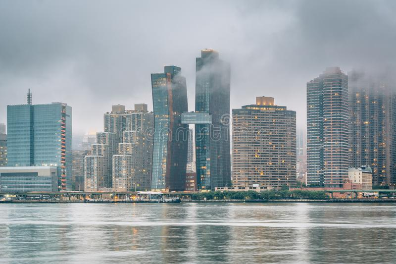 Foggy view of the Manhattan skyline from Gantry Plaza State Park, in Long Island City, Queens, New York City stock photo