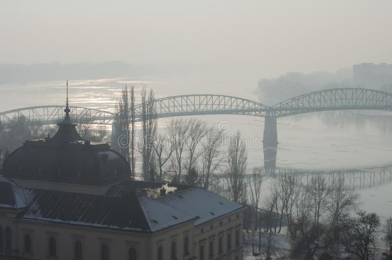 Foggy view of the Maria Valeria bridge in Esztergom stock photos