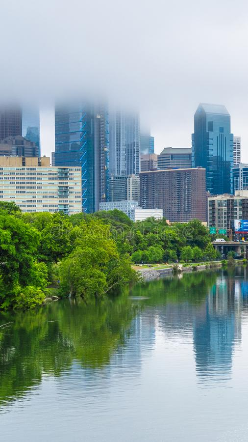 Foggy view of the Philadelphia skyline and Schuylkill River in Philadelphia, Pennsylvania.  royalty free stock images