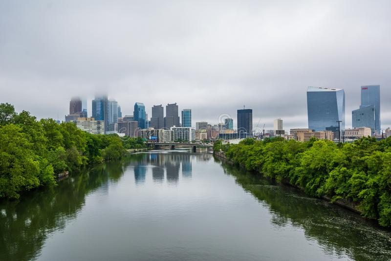 Foggy view of the Philadelphia skyline and Schuylkill River in Philadelphia, Pennsylvania.  royalty free stock photos