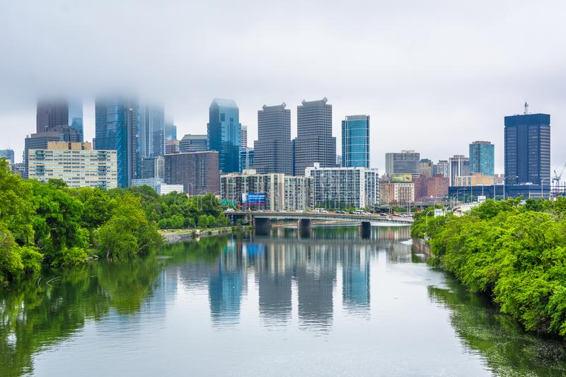 Foggy view of the Philadelphia skyline and Schuylkill River in Philadelphia, Pennsylvania.  royalty free stock photo