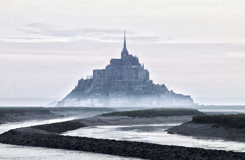 Foggy view of Saint Michel royalty free stock photography