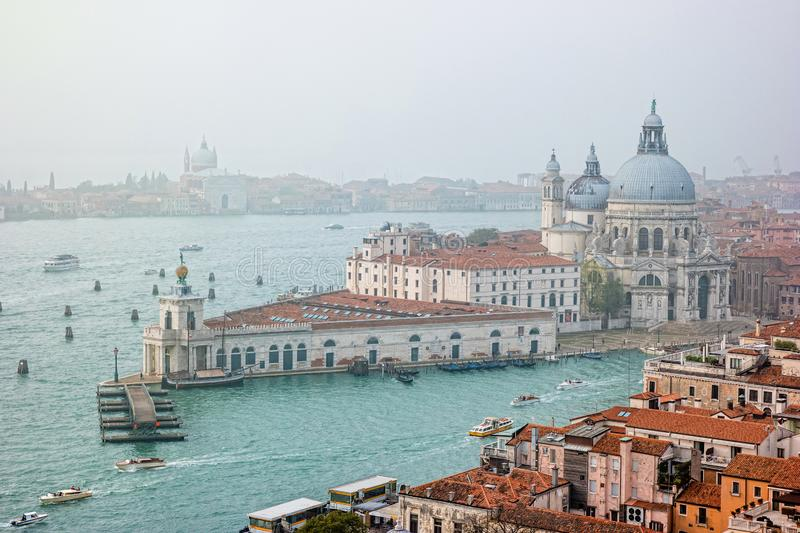 Foggy view from the top of Campanile di San Marco in the morning. Venice, Italy royalty free stock photos