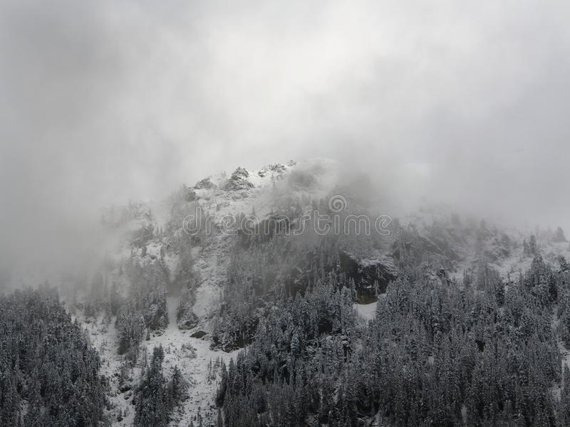 Foggy Winter Mountain. Mountainside Covered by Snow and Trees. Foggy Winter Mountain. Misty and Dull Weather. Mountainside Covered by Snow and Trees. Cloudy Sky royalty free stock photo