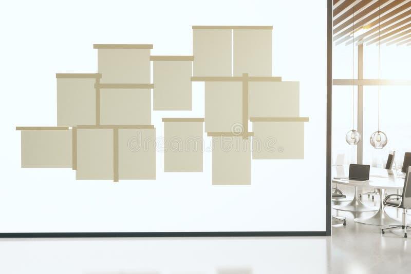 Fogli bianchi di attaccatura di carta sulla parete della sala riunioni immagine stock libera da diritti