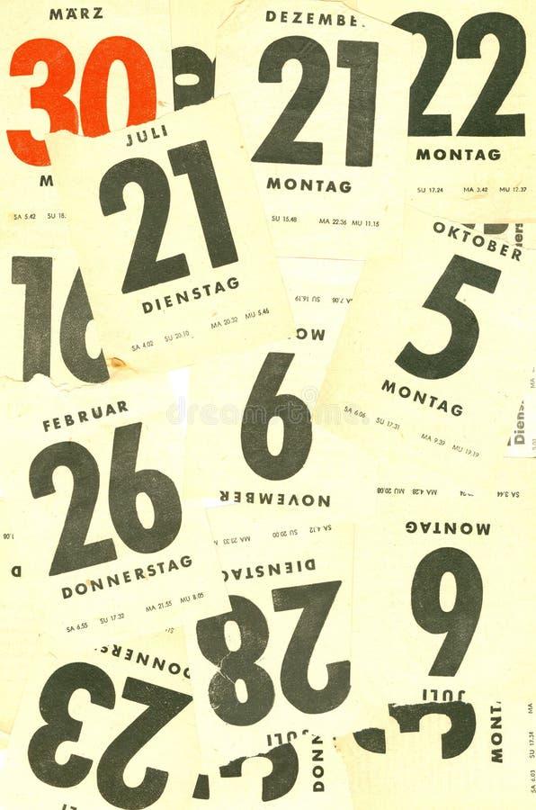 Fogli del calendario fotografia stock