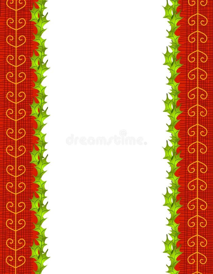 Fogli dell'agrifoglio e bordo rosso del nastro dell'oro royalty illustrazione gratis