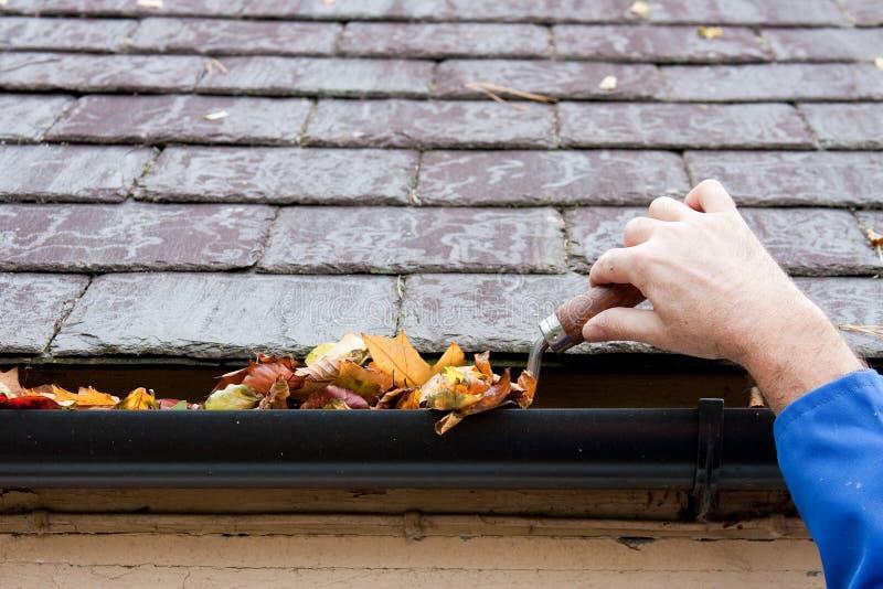 Fogli di autunno di schiarimento dalla grondaia con il Trowel immagini stock libere da diritti