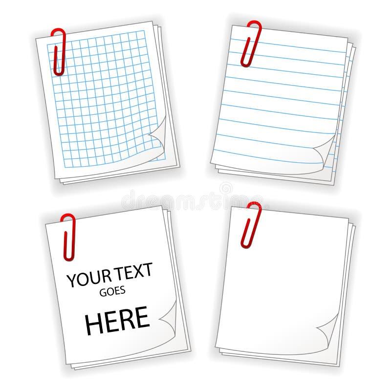 Fogli di carta con la clip rossa illustrazione di stock