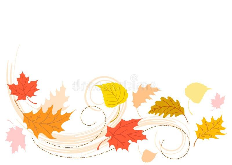 Fogli di salto di caduta di autunno illustrazione di stock