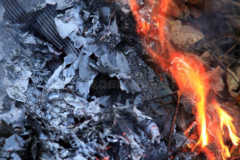 Fogli in fiamme immagine stock