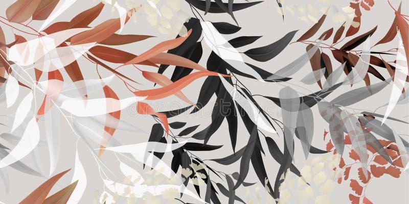 Fogli tropicali colore pastello del modello senza cuciture illustrazione di stock