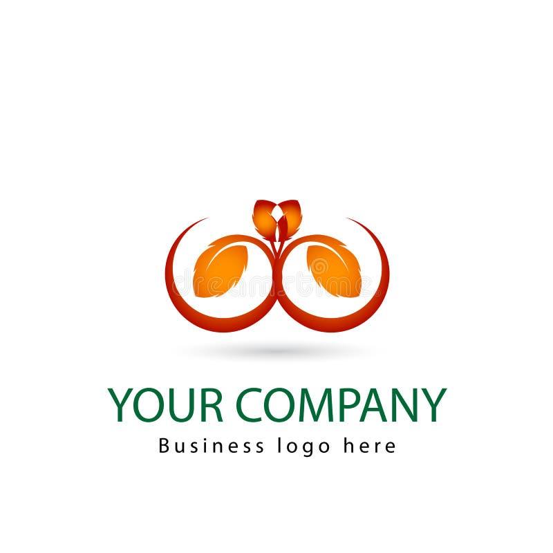 Foglia arancio di colore, pianta, logo, ecologia, la gente, benessere, foglie, insieme dell'icona di simbolo della natura delle p royalty illustrazione gratis