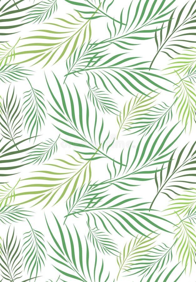 Foglia Art Seamless Pattern della noce di cocco illustrazione vettoriale