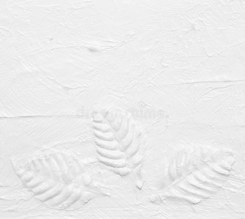 Foglia bianca della pittura della mano di struttura fotografia stock libera da diritti