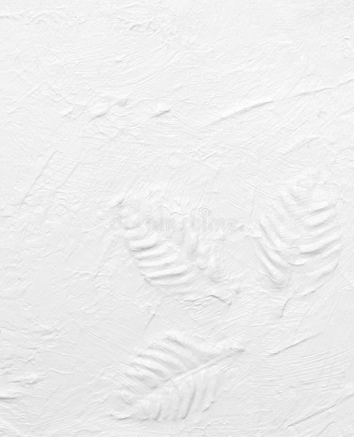 Foglia bianca della pittura della mano di struttura immagine stock