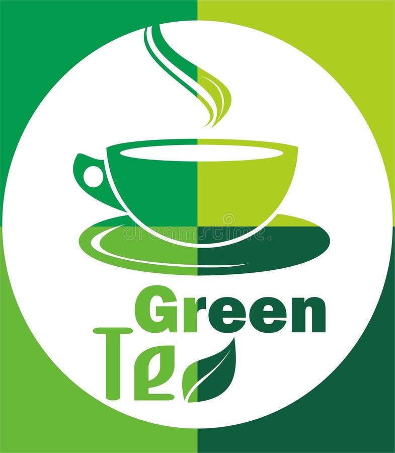 Foglia calda del tè verde di logo immagini stock