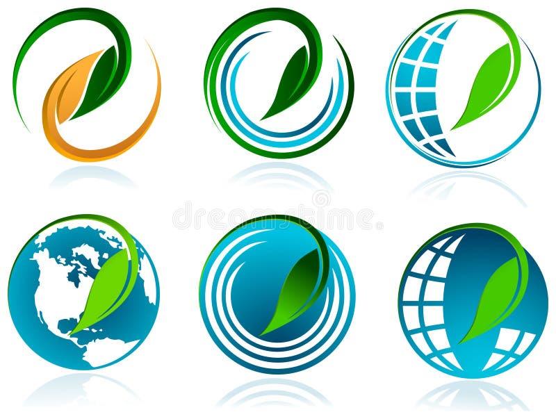 Foglia con il glob illustrazione vettoriale