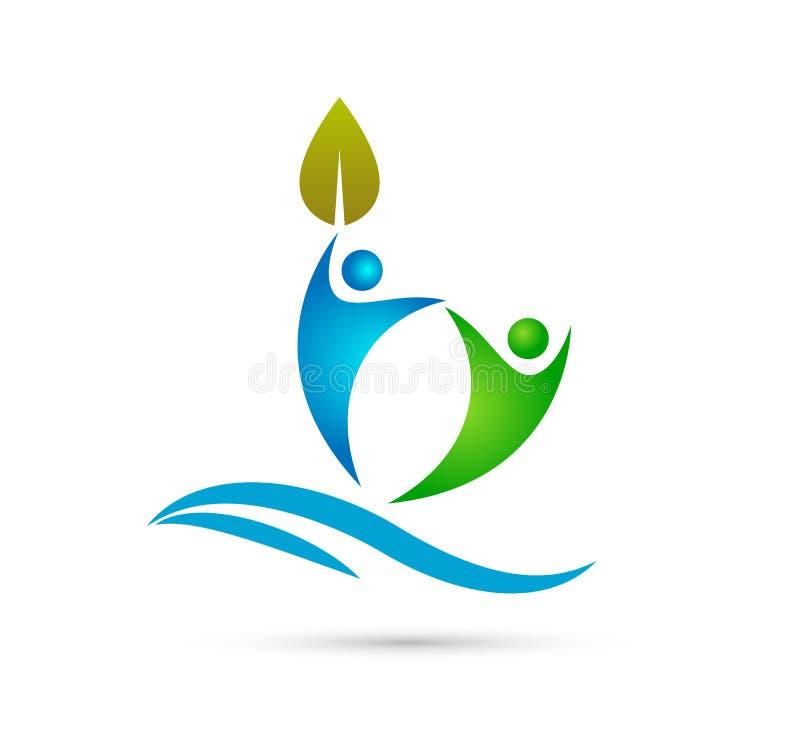 Foglia creativa di verde di Team People con l'onda di acqua, logo felice di concetto della gente insieme illustrazione di stock