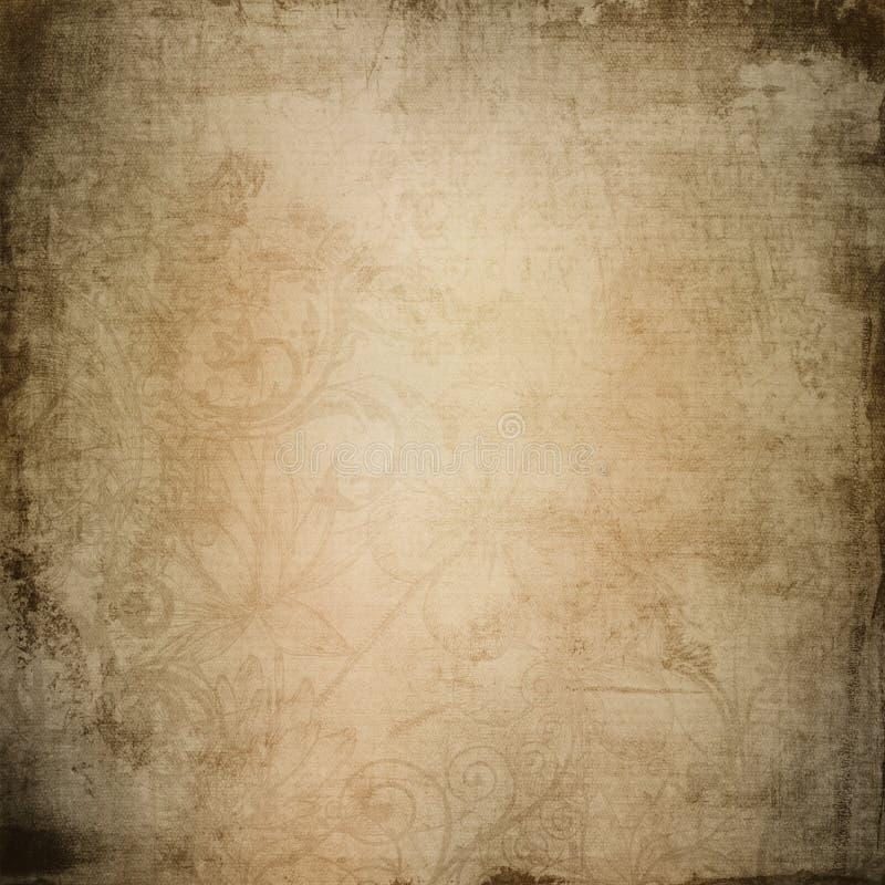 Foglia d'annata e fondo di carta marrone dei fiori illustrazione vettoriale
