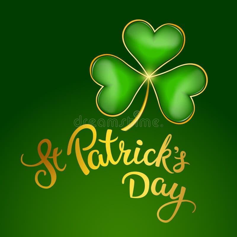 Foglia del trifoglio ed il giorno di St Patrick scritto a mano originale del testo illustrazione di stock