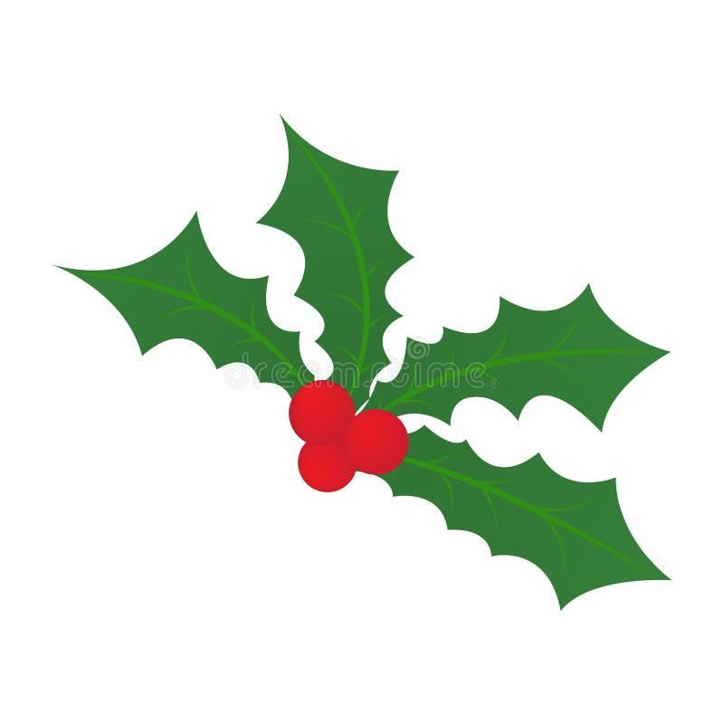 Foglia dell'agrifoglio di Natale illustrazione di stock
