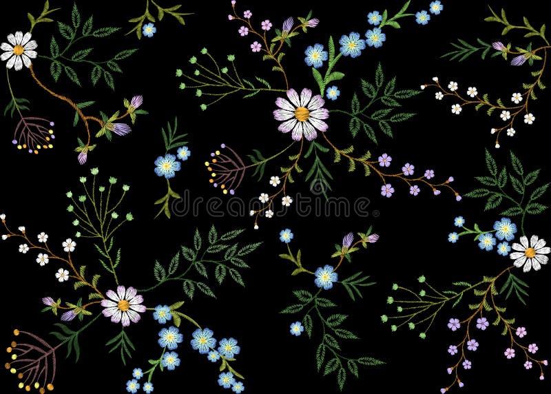 Foglia dell'erba dei rami del modello senza cuciture floreale di tendenza del ricamo piccola con poca camomilla viola blu della m royalty illustrazione gratis
