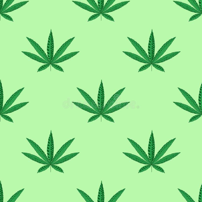 Foglia della cannabis della canapa nello stile dello zentangle Reticolo senza giunte illustrazione vettoriale