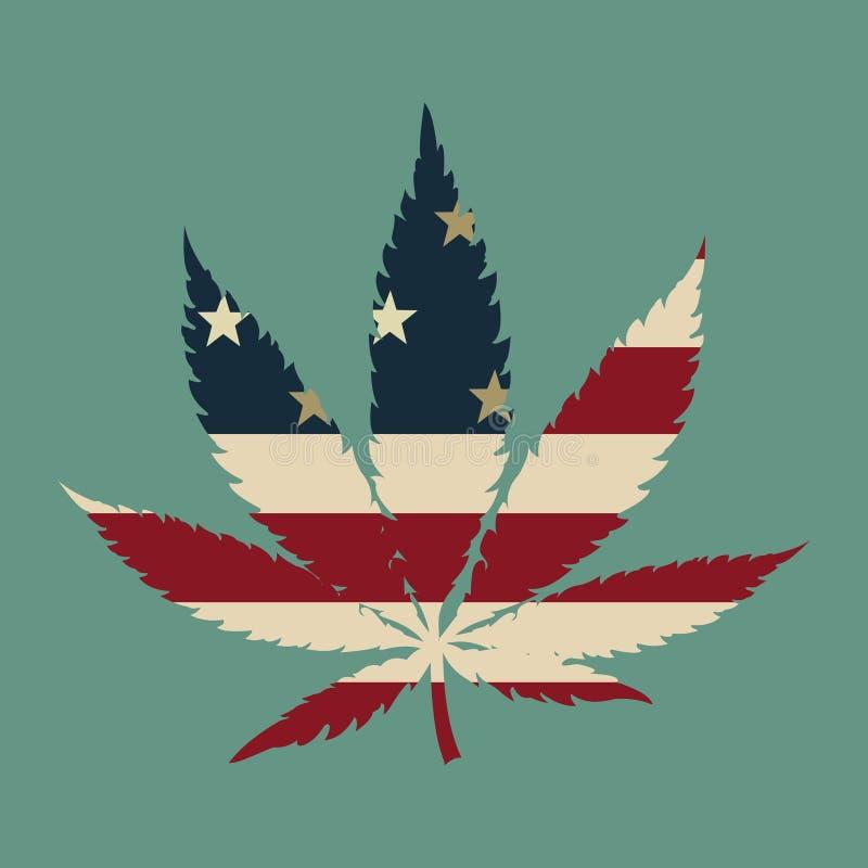 Foglia della marijuana con i colori della bandiera di U.S.A. immagine stock libera da diritti