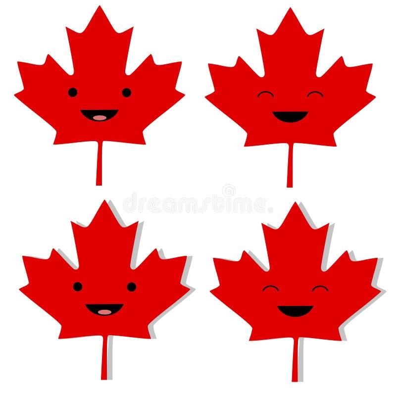 Foglia di acero canadese Smilies royalty illustrazione gratis