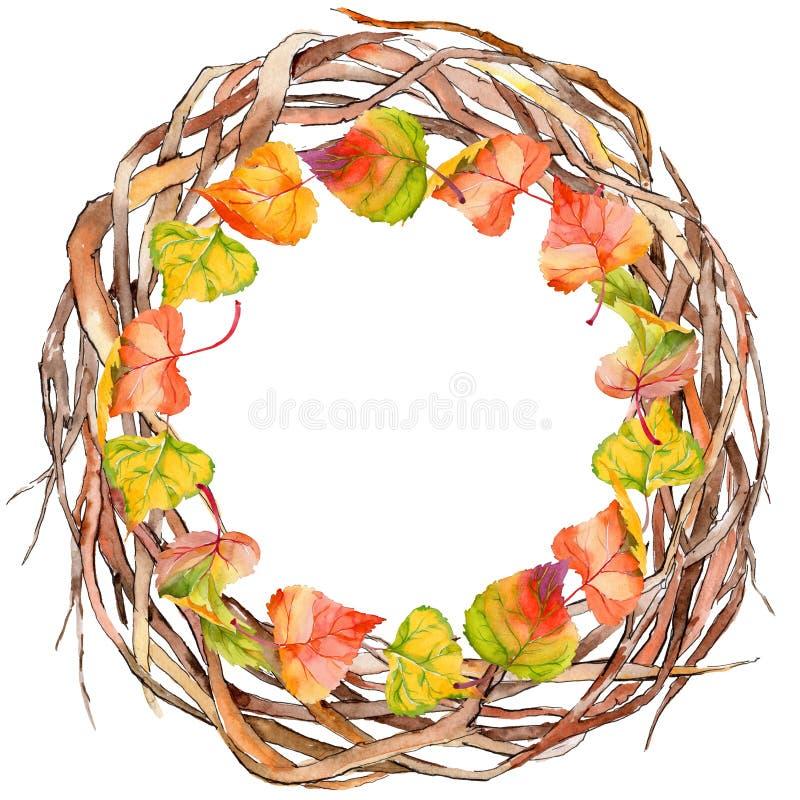 Foglia di autunno della corona del pioppo in uno stile disegnato a mano dell'acquerello royalty illustrazione gratis