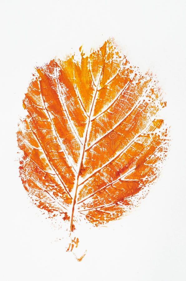 Foglia di caduta stampata arancia immagini stock libere da diritti