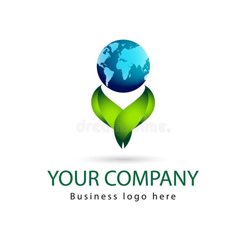 Foglia di colore verde, pianta, insieme di logo, ecologia, foglie, progettazioni di vettore dell'icona di simbolo della natura co illustrazione di stock