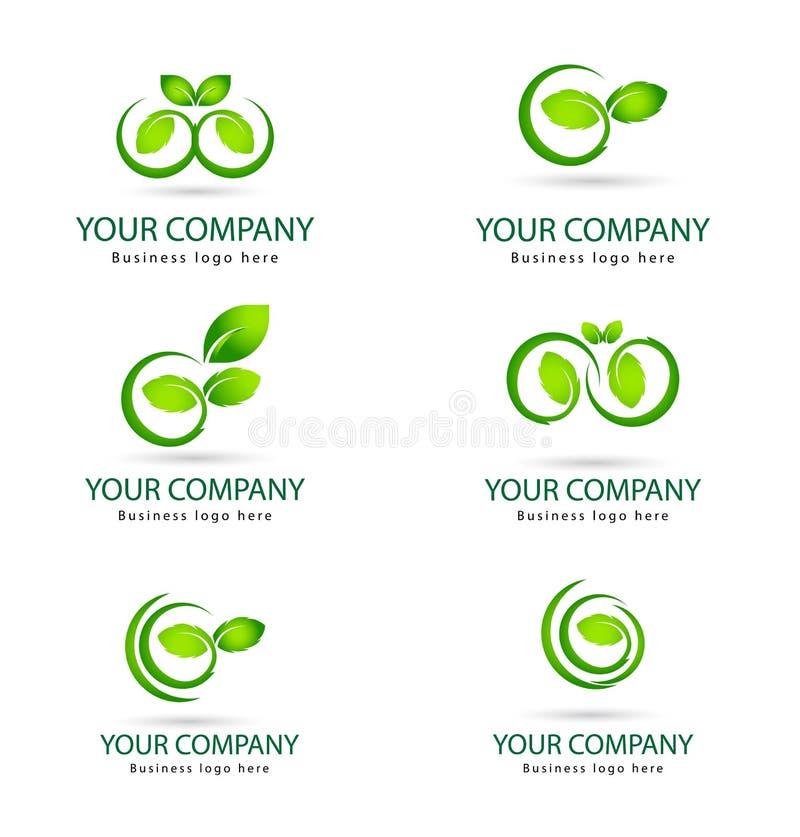 Foglia di colore verde, pianta, insieme di logo, ecologia, la gente, benessere, foglie, insieme dell'icona di simbolo della natur royalty illustrazione gratis