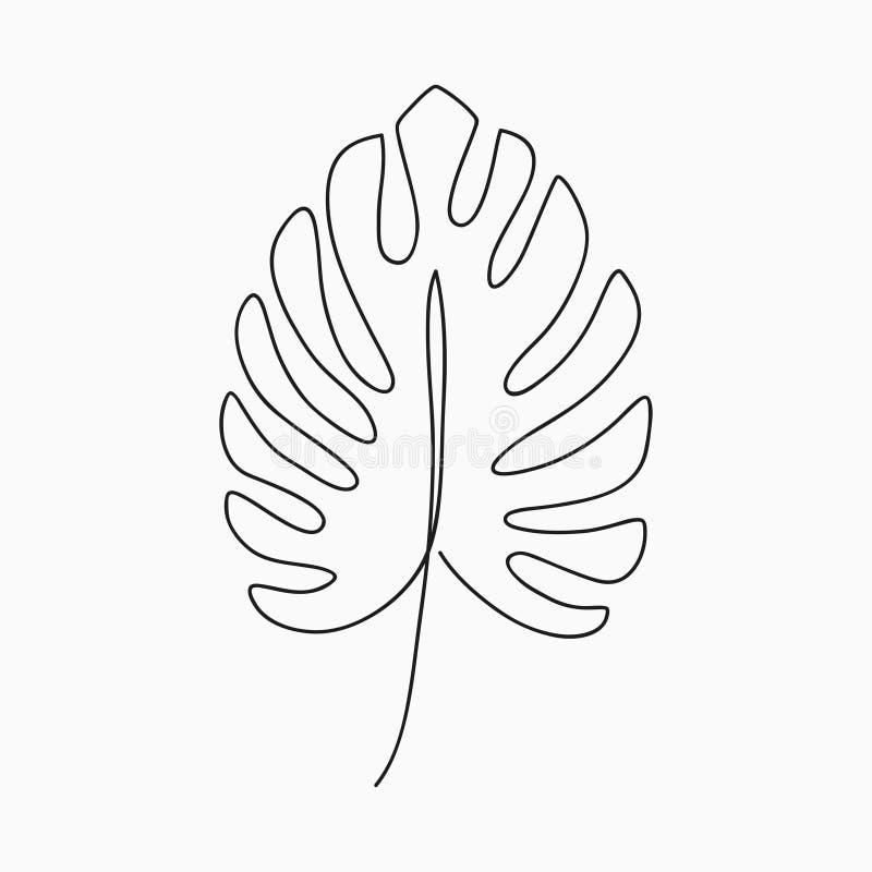 Foglia di Monstera - un disegno a tratteggio Linea continua pianta esotica Illustrazione minimalista disegnata a mano royalty illustrazione gratis