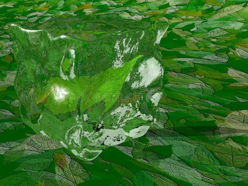 Foglia di tè all'interno del cubo di ghiaccio illustrazione vettoriale
