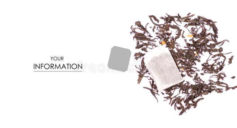 Foglia di tè con il modello della bustina di tè della frutta immagine stock