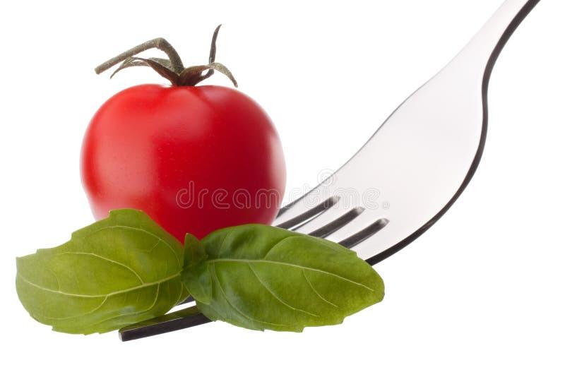 Foglia e pomodoro ciliegia del basilico sulla forcella isolata sul backgrou bianco fotografia stock libera da diritti