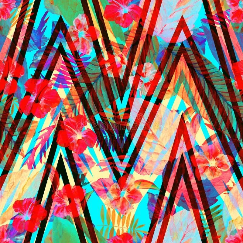Foglia floreale del modello sull'ornamento di zigzag Fiori rossi con il fondo delle foglie Illustrazione dell'acquerello illustrazione di stock