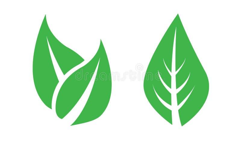Foglia, foglie, piante, pini, erba, logo, natura, verde, insieme dell'icona del vettore royalty illustrazione gratis