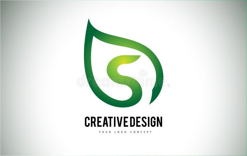 Foglia Logo Letter Design di S con il profilo verde della foglia illustrazione di stock