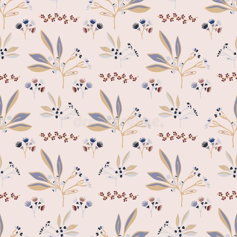 Foglia naturale rosa Berry Branch Vector Pattern, illustrazione di stock