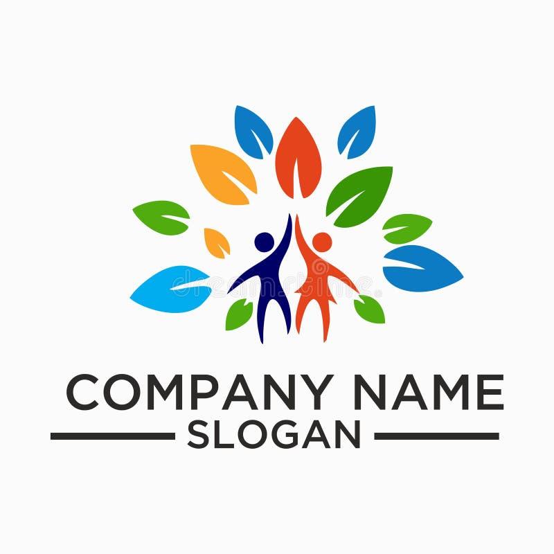 Foglia, pianta, logo, ecologia, la gente, benessere, verde, foglie, insieme dell'icona di simbolo della natura delle progettazion illustrazione vettoriale